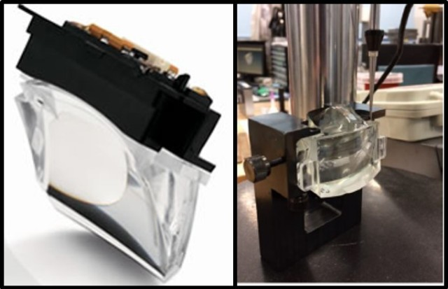 Prism eyepiece integrated with organic light-emitting diode micro-display electronics (left) and mounted in a test fixture (right) used to evaluate performance.