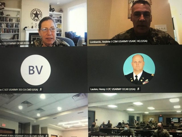 The Chief of the Army Reserve, Lt. Gen. Jody Daniels, and the Army Reserve Command Sgt. Maj. Andrew Lombardo, engaged with Soldiers from the 353d Civil Affairs Command Headquarters, 407th Civil Affairs Battalion (CA BN), and the 415th CA BN during virtual question and answer sessions held February 6, 2021.