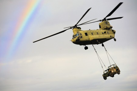 Soldiers conduct sling-load operations with an Army CH-47 Chinook helicopter during a training exercise in Monte Romano, Italy, Jan. 20, 2021.