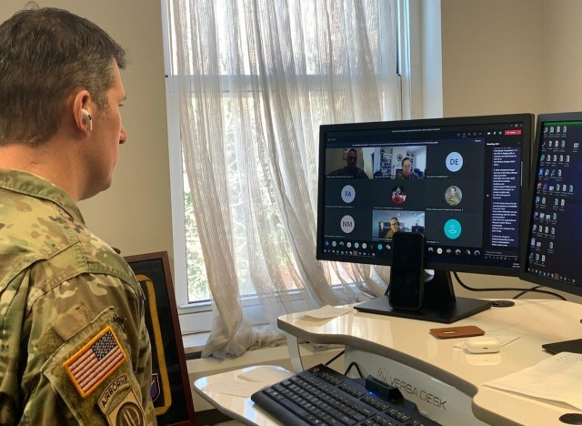 Maj. Matt Brown, the 353d Civil Affairs Command Headquarters commander,  joined his unit online to speak with the Chief of the Army Reserve, Lt. Gen. Jody Daniels, and the Army Reserve Command Sgt. Maj. Andrew Lombardo, during a virtual question and answer session held February 6, 2021.