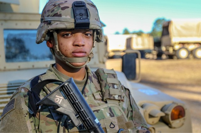 """U.S. Army Pfc. Precious Harris, a fire control specialist with the fire control element of 3rd Infantry Division Artillery, on Fort Stewart, Georgia, joined the Army after completing bachelors degrees in both criminal justice and sociology from The College at Brockport, State University of New York. """"Don't give up and don't be afraid to take opportunities- you just have to push through. If you're given an opportunity, take it and run."""" (U.S. Army photo by Pfc. Summermadeleine Keiser)"""