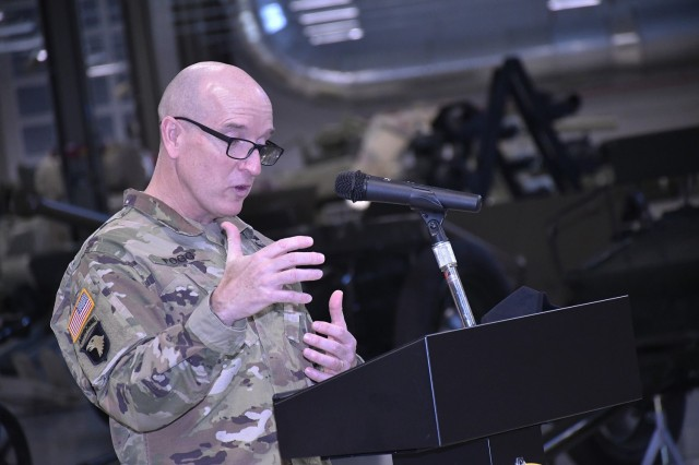Maj. Gen. Rodney D. Fogg, CASCOM and Fort Lee commanding general, makes remarks to the audience during the CASCOM Chief Warrant Officer Change of Charter Ceremony Feb. 5 at the Ordnance Training Support Facility.