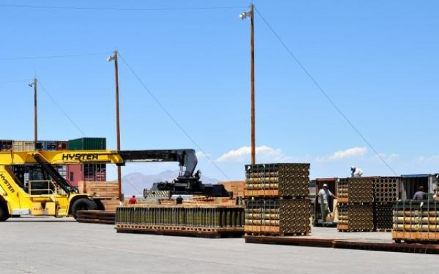 Tooele Army Depot, a JMC Subordinate installation, prepares pallets of munitions prior to shipping to soldiers.
