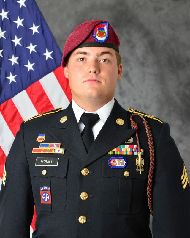 "A portrait of Sgt. Bryan ""Cooper"" Mount, a paratrooper from the 1st Squadron, 73rd Cavalry Regiment who was tragically killed in a vehicle rollover accident while in the line of duty."