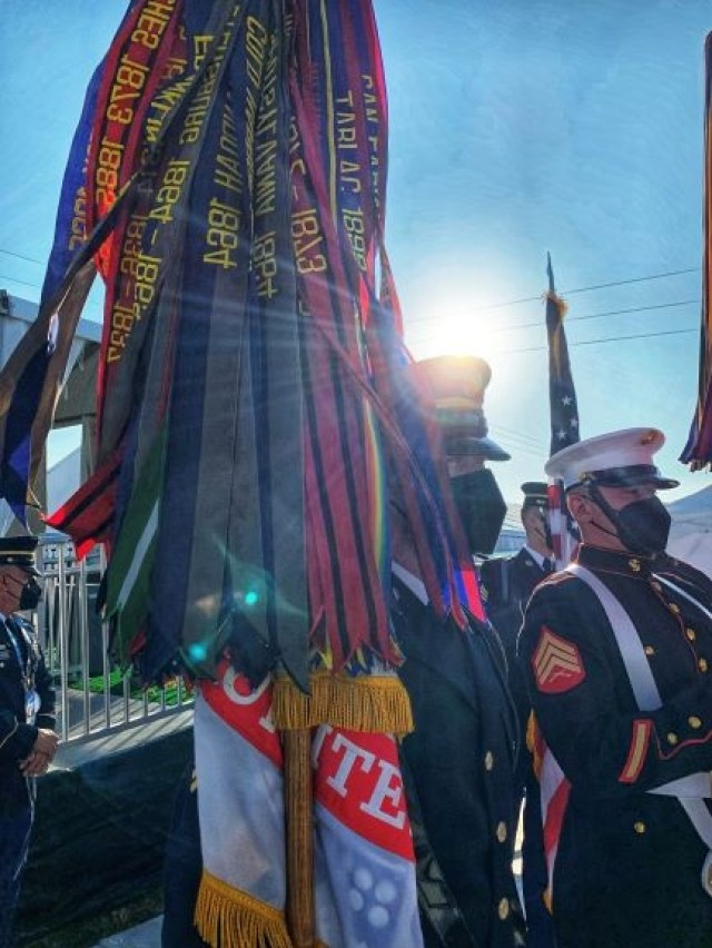 U.S. Army Sgt. Collin Gorman holds the Army service flag and its 190 campaign streamers during final inspection before moving to the stadium for the opening ceremony performance for Super Bowl LV in Tampa, Florida, Feb. 7, 2021. The U.S. Armed Forces Color Guard is comprised of service members from the ceremonial guard units stationed in and around Washington, D.C.
