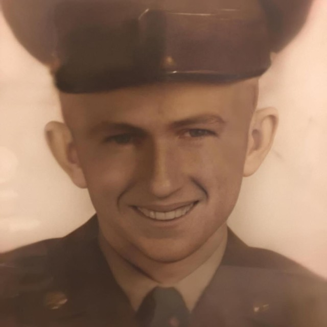 "Sgt. Eugene ""Bates"" Windham's official Army photo during his time as a transportation Soldier during the Korean War era. Windham is the great grandfather to Cpl. Keaton Williamson, a tanker assigned to Bravo ""Eagar Arms"" Company, 2nd Battalion, 8th Cavalry Regiment, deployed to the Pabrade Training Area, Lithuania. Williams's Family has a long history of military service, most serving as tankers. (U.S. Army photo courtesy of Cpl. Keaton Williamson)"