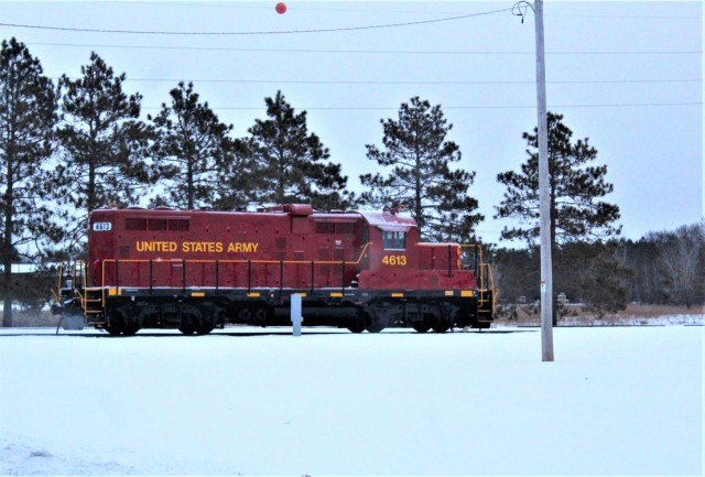A U.S. Army locomotive used as part of rail operations is shown Jan. 26, 2021, at Fort McCoy, Wis. For the many decades of Fort McCoy's existence, the capability to transport cargo and equipment to and from the installation by rail has always been there. During World War II, for example, the railroad at Fort McCoy was one of the main forms of transportation for bringing troops in for training and home after the war as well as moving cargo and equipment in and out of the installation. And as rail operations continue in the future at the installation, Fort McCoy's Transportation Officer D.J. Eckland with LRC said he welcomes each and every opportunity to demonstrate the capability. He said rail is one of the post's strategic transportation missions, and regular rail movements allow the installation to exercise that capability. (U.S. Army Photo by Scott T. Sturkol, Public Affairs Office, Fort McCoy, Wis.)