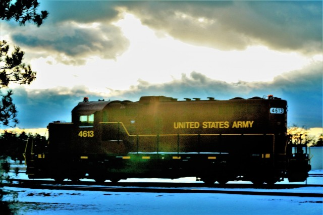 A U.S. Army locomotive used as part of rail operations is shown Jan. 21, 2021, at Fort McCoy, Wis. For the many decades of Fort McCoy's existence, the capability to transport cargo and equipment to and from the installation by rail has always been there. During World War II, for example, the railroad at Fort McCoy was one of the main forms of transportation for bringing troops in for training and home after the war as well as moving cargo and equipment in and out of the installation. And as rail operations continue in the future at the installation, Fort McCoy's Transportation Officer D.J. Eckland with LRC said he welcomes each and every opportunity to demonstrate the capability. He said rail is one of the post's strategic transportation missions, and regular rail movements allow the installation to exercise that capability. (U.S. Army Photo by Scott T. Sturkol, Public Affairs Office, Fort McCoy, Wis.)