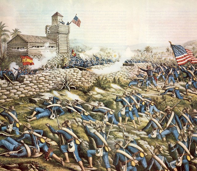 Charge of the 24th and 25th Colored Infantry, July 2nd 1898 1899 lithograph, Kurtz and Allison.
