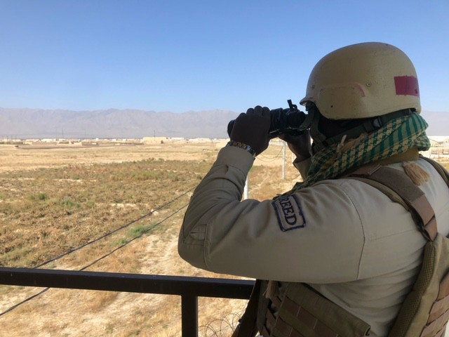 A contractor conducts surveillance as part of Army Contracting Command-Rock Island's Private Security Contract at Bagram Air Field (BAF), Afghanistan. (Courtesy photo)