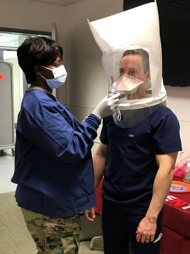 Army Sgt. Diatou Gueye, a 68E dental specialist assigned to the Vilseck Army Dental Clinic, recently completed a fast paced training and certification process in the proper fitting and wear of N95 masks. Her efforts will ensure all personnel assigned to the clinic are wearing protective masks correctly.