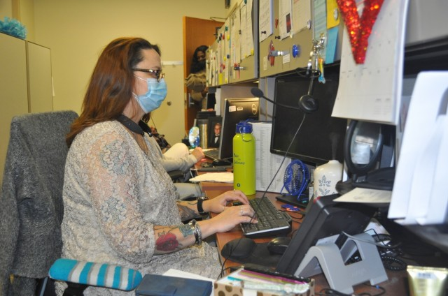 Martin Army Community Hospital Medical Support Assistant Monica Converse schedules appointments and messages providers for patients in BMACH's call center.