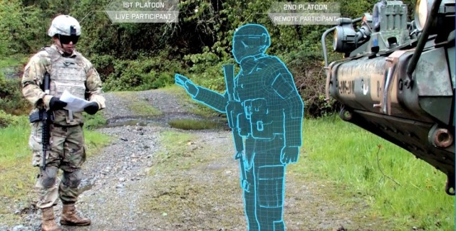 A Stryker vehicle commander interacts in real-time with a Soldier avatar that is operated remotely from a collective trainer Jan. 1, 2018. Multiple agencies in and out of the Army are working together to develop the Synthetic Training Environment that links augmented reality with live training.