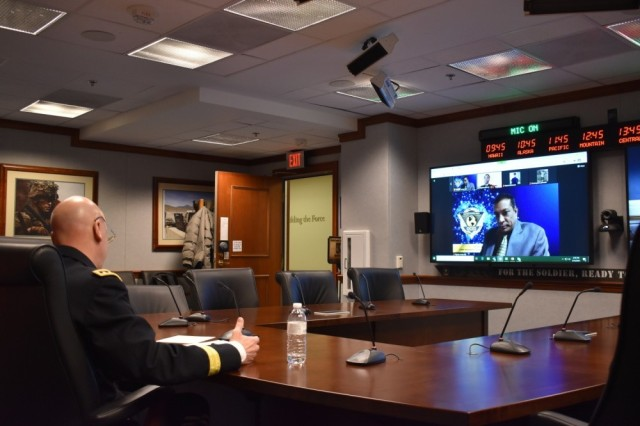Army Deputy Chief of Staff G-6 Lt. Gen. John Morrison (left) and Chief Information Officer Dr. Raj Iyer (on screen) mentored high school students attending the Black Engineer of the Year Awards Science, Technology, Engineering and Mathematics Conference held virtually. The mentoring session on February 12, 2021 was at the midpoint of the three-day event.
