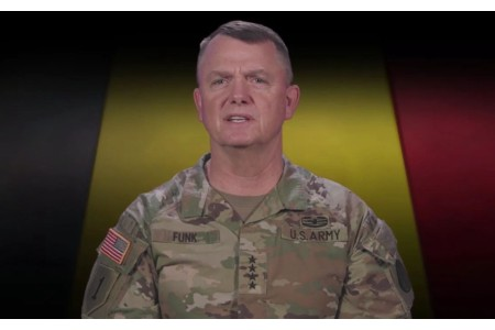 Gen. Paul Funk II, commander of Army Training and Doctrine Command, during a virtual conference Feb. 16, 2021, where he discussed multiple training initiatives to ensure a multi-domain readiness force by 2028.