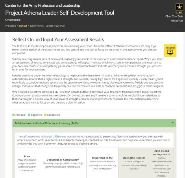 Step one Leader Self-Development Tool