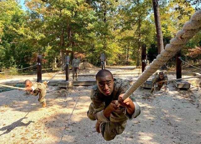Basic Combat Trainees complete an obstacle course at Fort Leonard Wood, Mo., Oct. 14, 2020.  (U.S. Army Courtesy Photo)