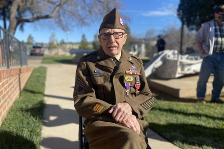 Sgt. 1st Class Marvin D. Cornett was awarded the Purple Heart and Bronze Star Medal during a ceremony in Auburn, Calif., Feb. 22, 2021. Cornett was assigned to Headquarters Company, 1st Battalion, 504th Parachute Infantry Regiment, 82nd Abn. Div. when he made the combat jump into Salerno, Italy and was later wounded during combat operations along the Mussolini Canal at the Anzio beachhead on Dec. 31, 1944. (U.S. Army photo by Lt. Col. Michael Burns)