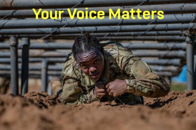 """Your Voice Matters"" listening session graphic.(U.S. Army Courtesy Graphic)"