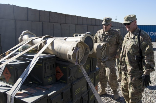 Brig. Gen. Robert D. Harter, deputy commanding general of the 1st Sustainment Command (Theater) / commanding general of the 316th Sustainment Command (Expeditionary), inspects the multi-national ammunition supply depot at Erbil, Iraq, on February 3, 2017. (U.S. Army photo by Staff Sgt. Dalton Smith)