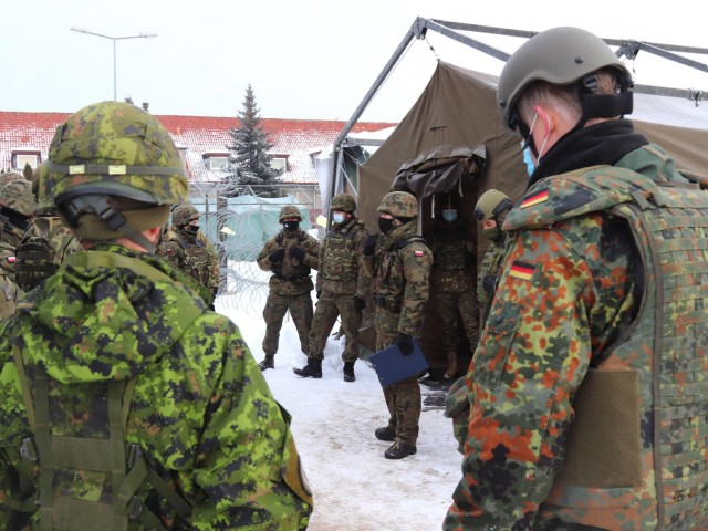 Soldiers from NATO's Multinational Division North East participated in Exercise Amber Bridge Feb. 15 – 19 in Elblag, Poland to improve the headquarters skills in planning military operations.