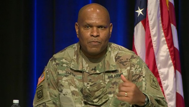 Lt. Gen. Leslie Smith, the Army's inspector general, speaks during a virtual town hall event Feb. 22, 2021.