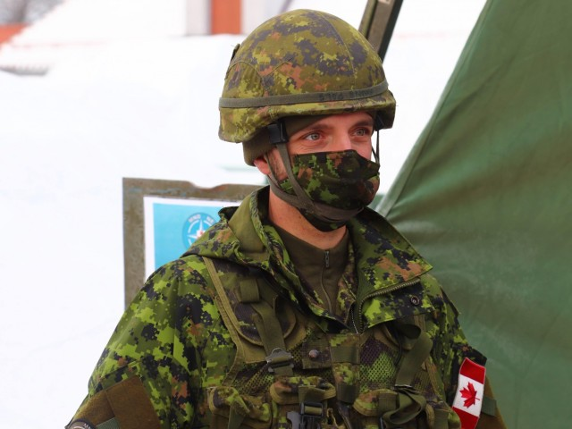 A Canadian Army Soldier assigned to NATO's Multinational Division North East participated in Exercise Amber Bridge Feb. 15 – 19 in Elblag, Poland to improve the headquarters skills in planning military operations.