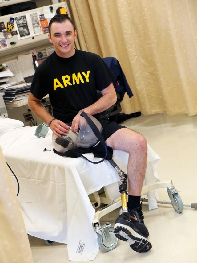 Army Spc. Ezra Maes undergoes physical rehabilitation at the Center for the Intrepid, Brooke Army Medical Center's rehabilitation center at Joint Base San Antonio-Fort Sam Houston, Texas, Oct. 2, 2019.