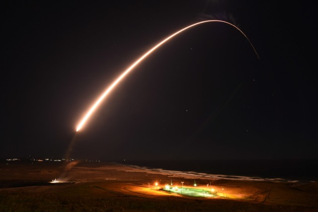An Air Force Global Strike Command unarmed Minuteman III intercontinental ballistic missile launches during an operation test at 11:49 p.m. PST, Feb. 23, 2021, at Vandenberg Air Force Base, Calif. ICBM test launches demonstrate the U.S. nuclear enterprise is safe, secure, effective and ready to defend the United States and its allies. ICBMs provide the U.S. and its allies the necessary deterrent capability to maintain freedom to operate and navigate globally in accordance with international laws and norms. (U.S. Space Force photo by Brittany E. N. Murphy)