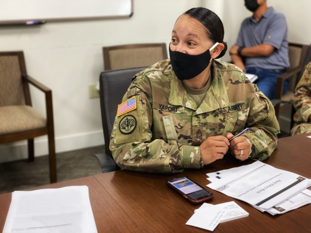 """Master Sgt. Gloria Yaport presents during the 402nd Army Field Support Brigade's Black History Month leader professional development, or LPD, session. February's LPD focused on Army's Black History Month theme """"The Black Family: Representation, Identity and Diversity."""""""
