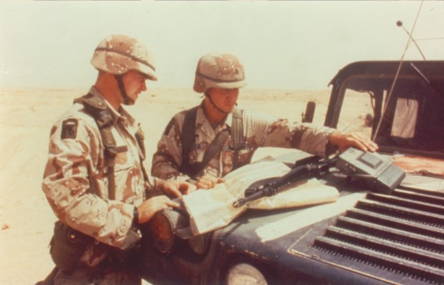 Soldiers operate the small lightweight GPS receivers during Operation Desert Storm in 1991. The receiver, which facilitated GPS navigation in the open desert, along with other space-based capabilities such as missile warning, space-based imagery and satellite communications played a major role in enabling the success of U.S. and coalition forces during 100 hours of sustained combat. (U.S. Army photo)