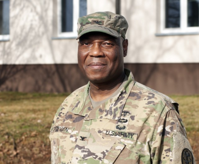 Col. Andre Pippen, the chief of staff for Regional Health Command Europe, poses for a photo.  Pippen is preparing to retire from the U.S. Army after 30 years of service.