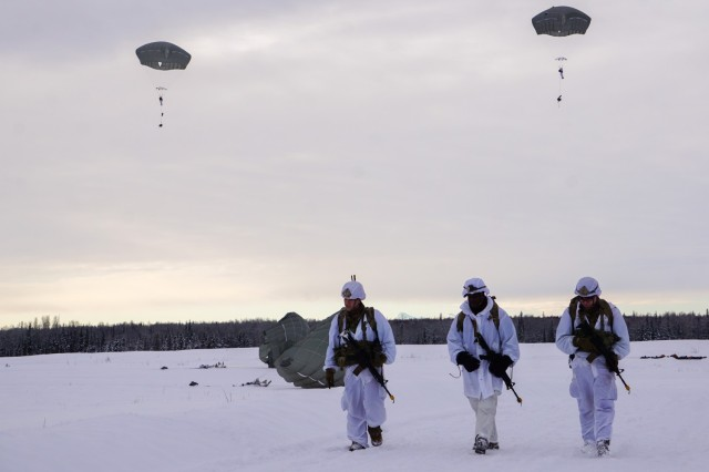 Paratroopers with the 4th Infantry Brigade Combat Team (Airborne), 25th Infantry Division, executed a second airborne operation as part of Arctic Warrior 21, Feb. 18, at Malemute Drop Zone, Alaska. The paratroopers from 1st Battalion, 501st Parachute Infantry Regiment, and 6th Brigade Engineer Battalion (Airborne), jumped into snowy skies before and then completed ruck marches to validate their capability to execute airborne operations in Arctic conditions. The Spartan Brigade is the only airborne infantry brigade combat team in the Arctic and Pacific theaters, providing the combatant commander with the unique capability to project an expeditionary force by air.