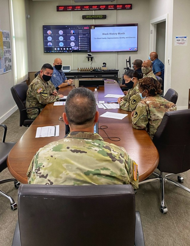 Members of the 402nd Army Field Support Brigade gathered for a leader professional development, also known as an LPD, session focused on the accomplishments and legacy of African American Soldiers in the Army.
