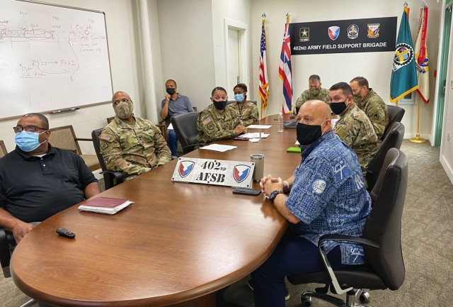 Members of the 402nd AFSB listen to a colleague share their experiences through Microsoft Teams. The 402nd conducted their Black History Month LPD session both in person and online to allow for COVID mitigation while maximizing brigade participation.