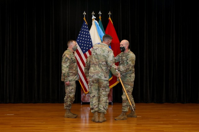 Brig. Gen. David Hodne, chief of Infantry at the Maneuver Center of Excellence, presides over the Infantry School change of responsibility Feb. 22.