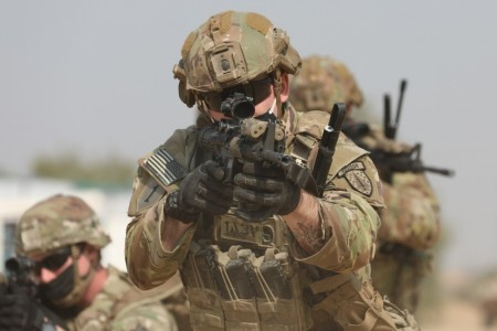 Staff Sgt. Tylor Williams, operations advisor with Team 5113, 1st Battalion, 5th Security Force Assistance Brigade, trains alongside Indian forces during the Yudh Abhyas exercise in Rajasthan, India, Feb. 9, 2021. Since activating last year, the 5th SFAB has already employed teams three times to the Indo-Pacific region, and according to its commander, the brigade's schedule will only get busier, with a third of the unit overseas at all times.