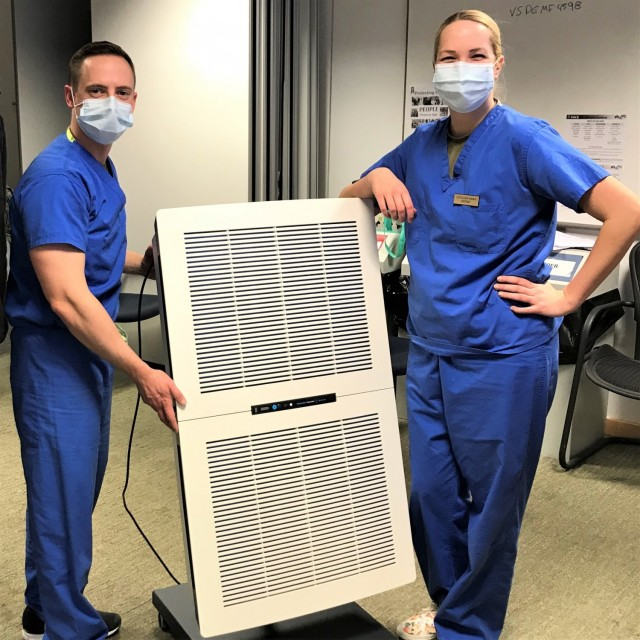 The Vilseck Army Dental Clinic recently took an all-hands-on-deck approach and assembled and put into use 25 portable High Efficiency Particulate Air (HEPA) filters in each of their dental treatment, or operatory rooms.(Photo by Maj. Katherine Darling-Lund)