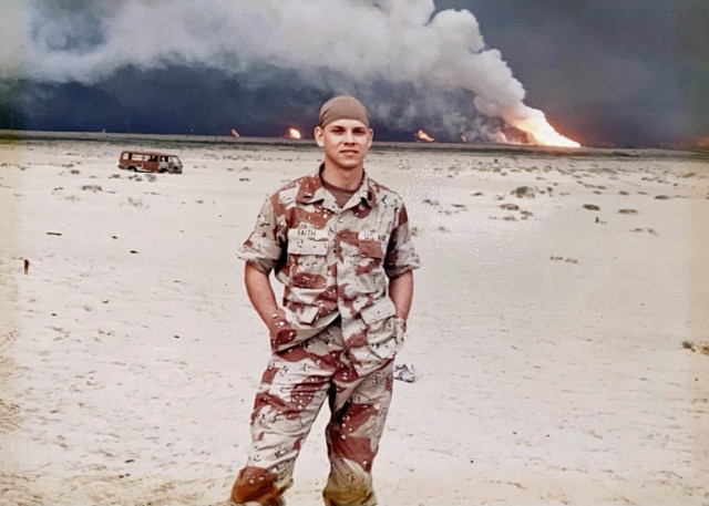 Then-1st Lt. Doug Faith poses for a photo while deployed to Southwest Asia in support of Operation Desert Storm during the winter of 1991. He is now a U.S. Army Aviation and Missile Command attorney adviser. (Courtesy photo)