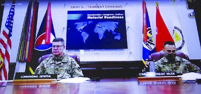 Maj. Gen. Daniel Mitchell, commanding general, U.S. Army Sustainment Command, and Command Sgt. Maj. Marcos Torres, ASC, listen to a question during the command's virtual town hall via MS Teams Feb. 25 as shown here from an employee laptop. (Photo by Greg Wilson, ASC Public Affairs)