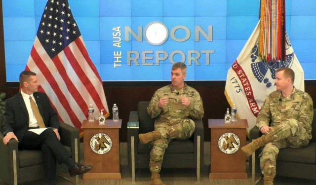 Sgt. Maj. Robert Haynie, center, the Army Talent Management Task Force's NCO team lead, and Maj. Jed Hudson, right, the task force's action officer for enlisted talent, speak during an Association of the U.S. Army Noon Report in Arlington, Va., Feb. 24, 2021.