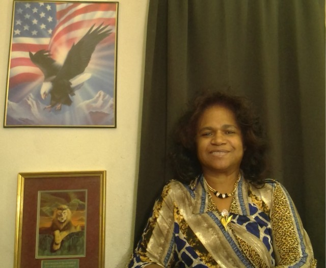 Vivian Gordon sits for a photo in her home in Colorado Springs. Gordon has been a DOD civilian employee since 1985 and currently serves as the executive assistant to the 100th Missile Defense Brigade commander. (Photo provided)