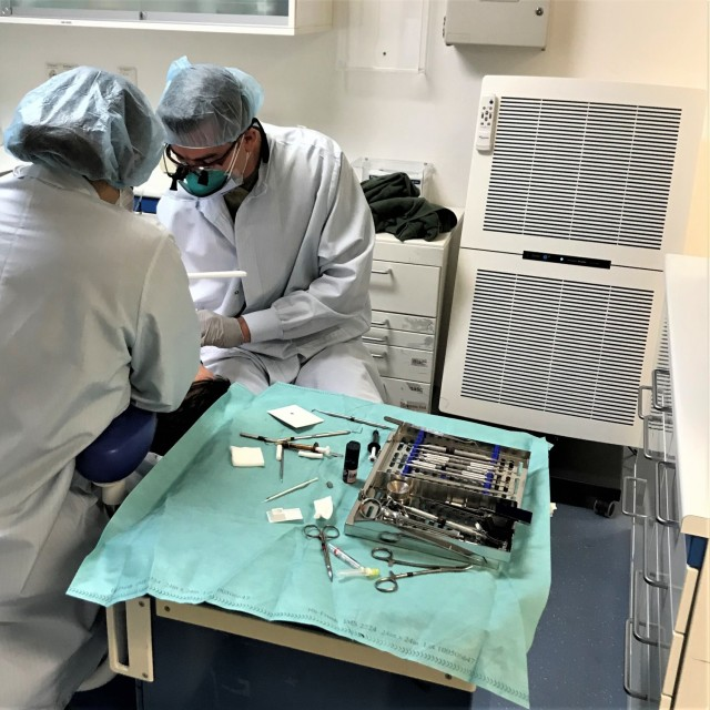 The Vilseck Army Dental Clinic recently took an all-hands-on-deck approach and assembled and put into use 25 portable High Efficiency Particulate Air (HEPA) filters in each of their dental treatment, or operatory rooms. (Photo by Maj. Katherine Darling-Lund)