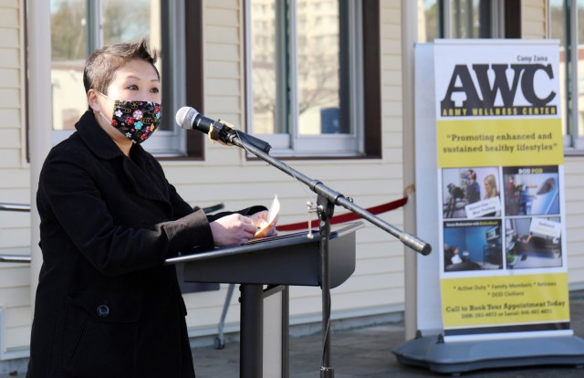 Shannon Vo, director of the Camp Zama Army Wellness Center, speaks at the grand reopening of the Camp Zama AWC in Bldg. 379, Camp Zama, Japan, Feb. 25.