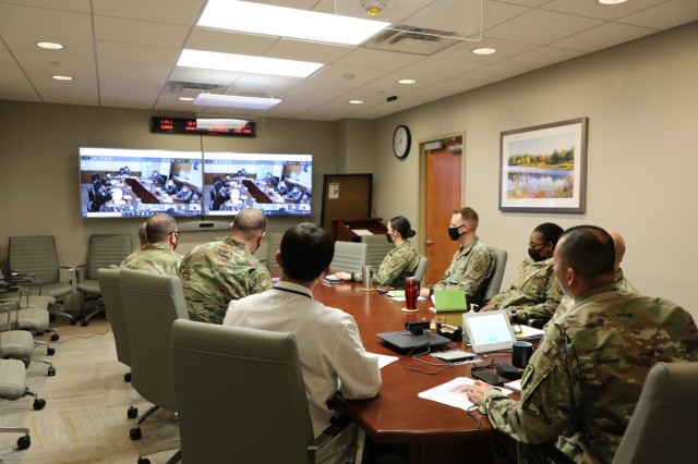 Col. Huy Q. Luu, the 549th HC/BDAACH commander, and the hospital leadership attend a virtual conference with ROK Army Surgeon General and Armed Forces Medical Center staff on the COVAX mission on February 2, 2021. During the conference, organization's COVAX processes, challenges, insights was shared while ROKA Medical Command shared their plan for future COVAX mission in support of KDCA's inoculation plan.