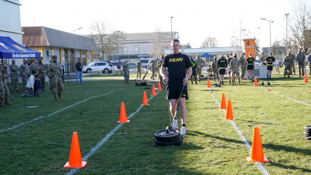 Sgt. David Baker, USAG Ansbach, drags a sled during the Army Combat Fitness Test Feb. 28 at Katterbach Fitness Center as part of the Installation Management Command-Europe Best Warrior Competition running from Feb. 28 to Mar. 3.  The competition enhances expertise, training, and understanding of the skills needed to be a well-rounded Soldier. Winners will go on to compete at the Installation Management Command level in San Antonio, Texas.