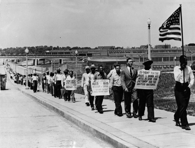 Protestors at St. Louis Army Ammunition Plant