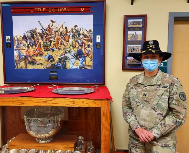 Capt. Elizabeth LaRue, Regimental Headquarters and Headquarters Troop Commander, was inspired by the story of Capt. Guy Henry, a 3rd Cavalry war hero and who was shot in the face and lost an eye on June 17, 1876, but survived the Battle of Rosebud Creek to become the 12th Col. of the Regiment.   (U.S. Army photo by Maj. Marion Jo Nederhoed)