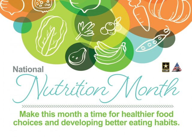 Make this month a focus on making good food choices for you and your family. National Nutrition Month is about developing sensible eating habits to achieve a healthy lifestyle and reduce your risk of health problems.