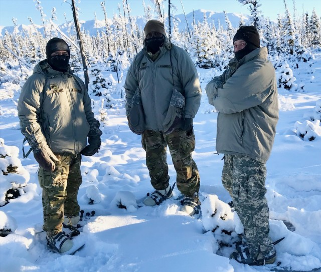 (L-R) Col. Joselito Lim, Lt. Col. Cleve Sylvester, and Master Sgt. David Edwards,  with Army Capability Manager-Army Health System team, provide their expertise during Arctic Warrior 21 at Fort Greely, Alaska, from February 6 to 12 to assess AHS, resolve Arctic Warfare gaps, enhance readiness, and inform modernization.